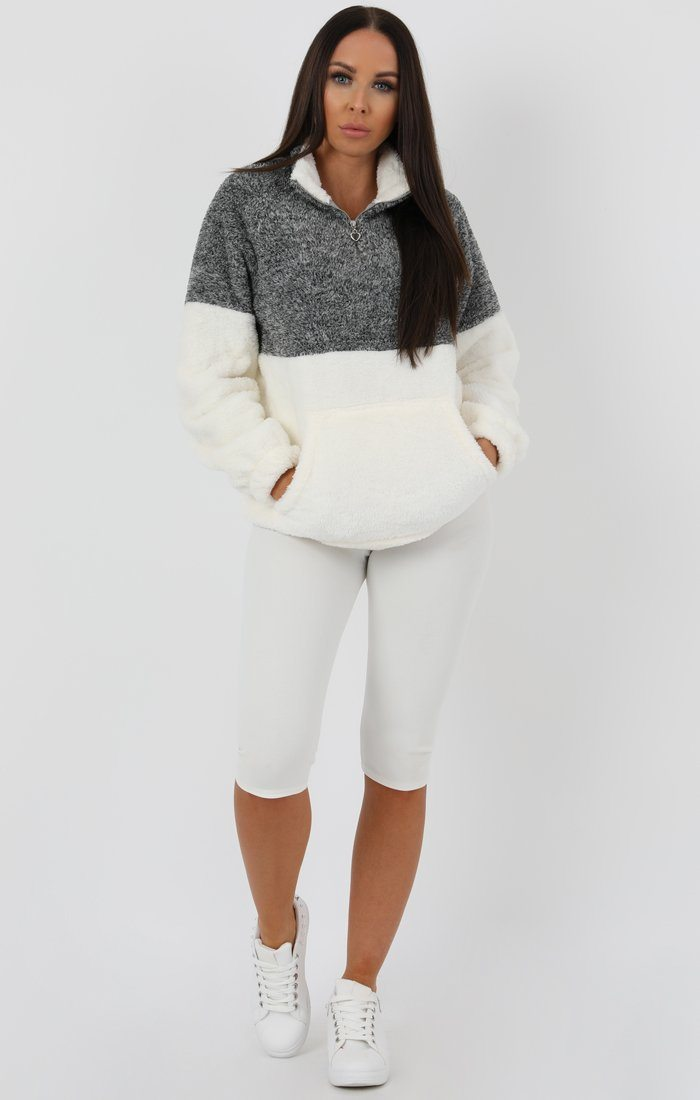 Grey White Quarter Zip Teddy Sweater Jumper - Tia jumpers FemmeLuxe
