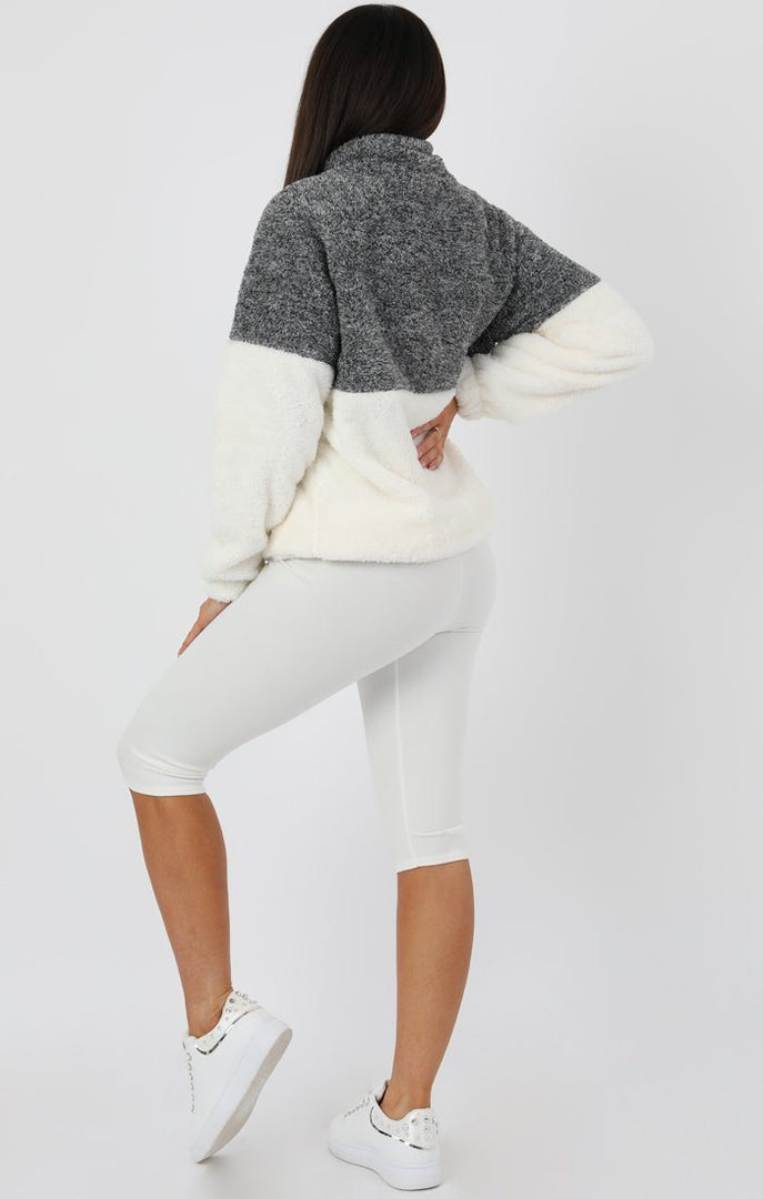 Grey White Quarter Zip Teddy Sweater Jumper - Tia
