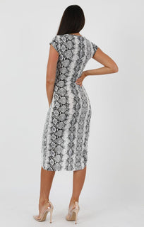 Animal Snake Print Extreme Split Cap Sleeve Midi Dress - Eliana