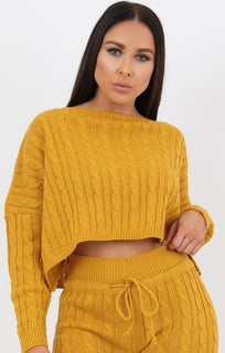Mustard Cable Knit Loungewear Set - Robina loungewear FemmeLuxe