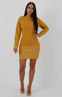 Mustard Ribbed Knit Bodycon Dress - Tasha sale FemmeLuxe