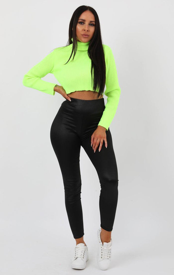 Neon Lime High Neck Ribbed Knit Crop Jumper - Rinah