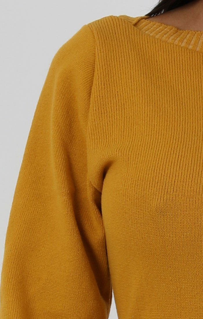 Mustard Ribbed Knit Bodycon Dress - Tasha