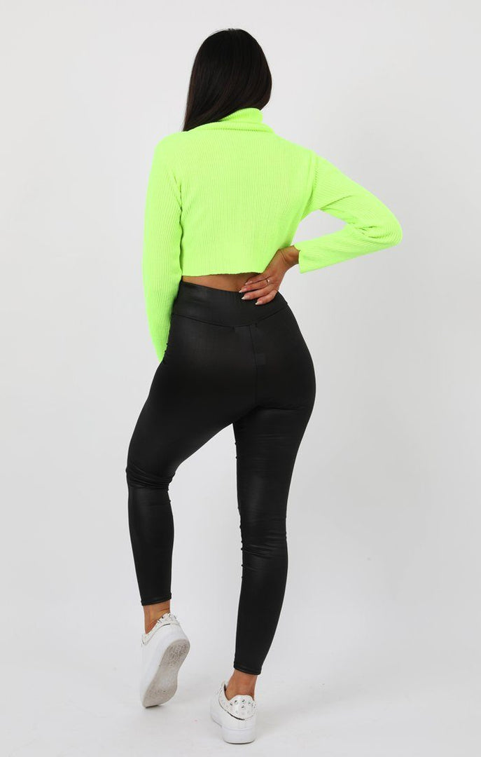 Neon Lime High Neck Ribbed Knit Crop Jumper - Rinah Jumpers FemmeLuxe