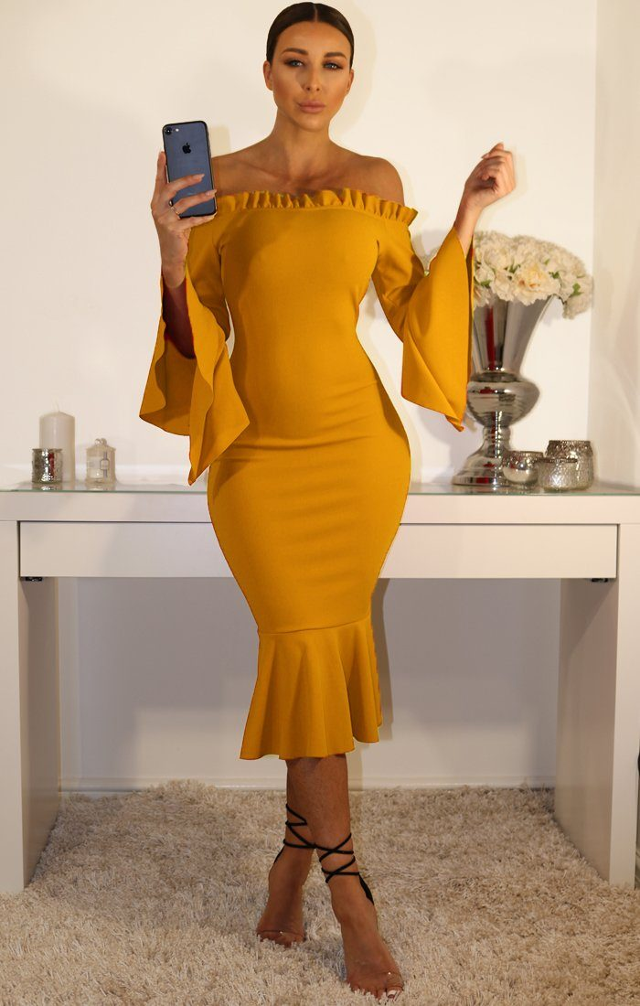 Mustard Bardot Frill Sleeve Dress With Ruffle Detail