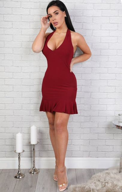 Wine Halter Neck Frill Dress