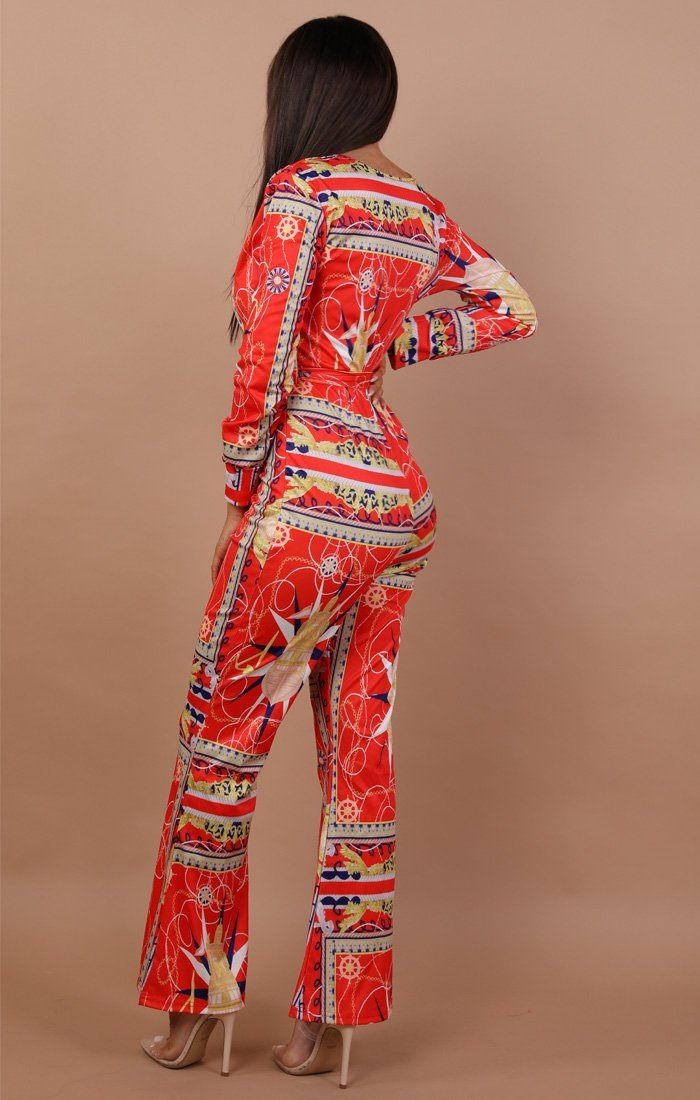 Red Chain Print Belted Jumpsuit – Coral