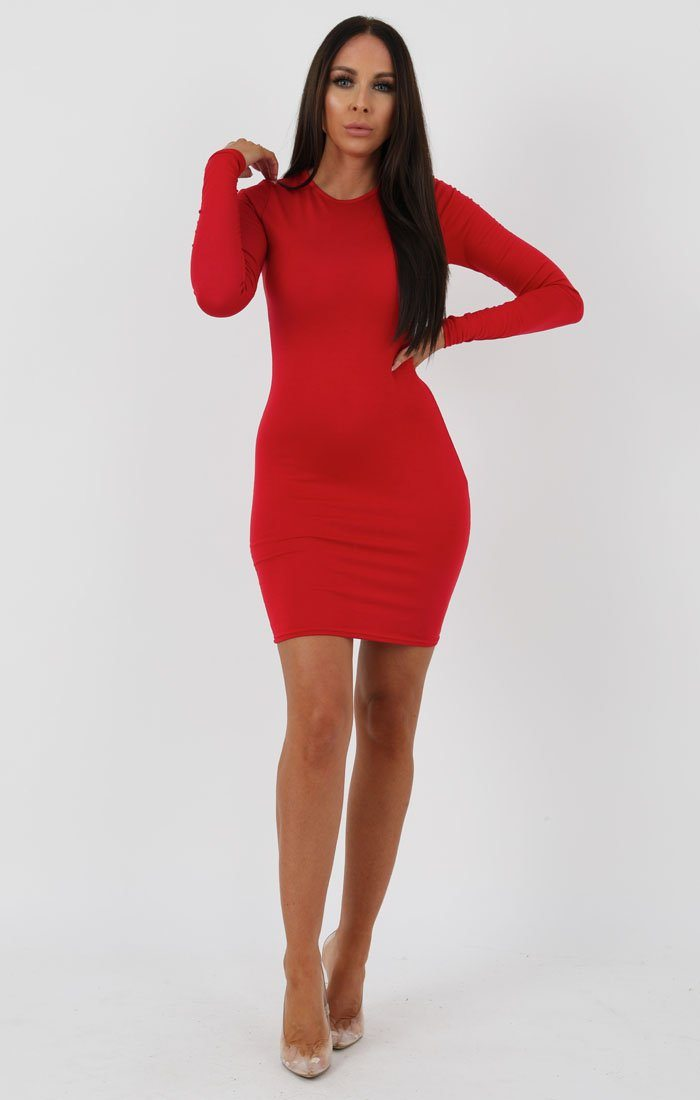 Red Long Sleeve Bodycon Dress - Michelle