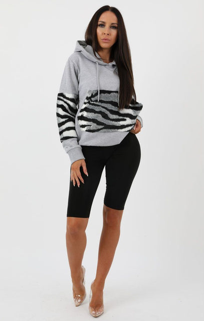 Grey Zebra Print Detail Hooded Jumper - Alexia