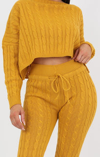 Mustard Cable Knit Loungewear Set - Robina