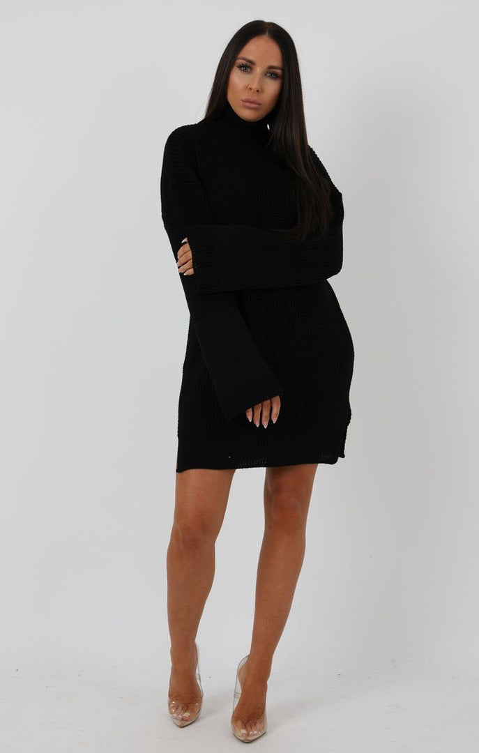 Black Knit High Neck Oversized Jumper Dress - Eliana