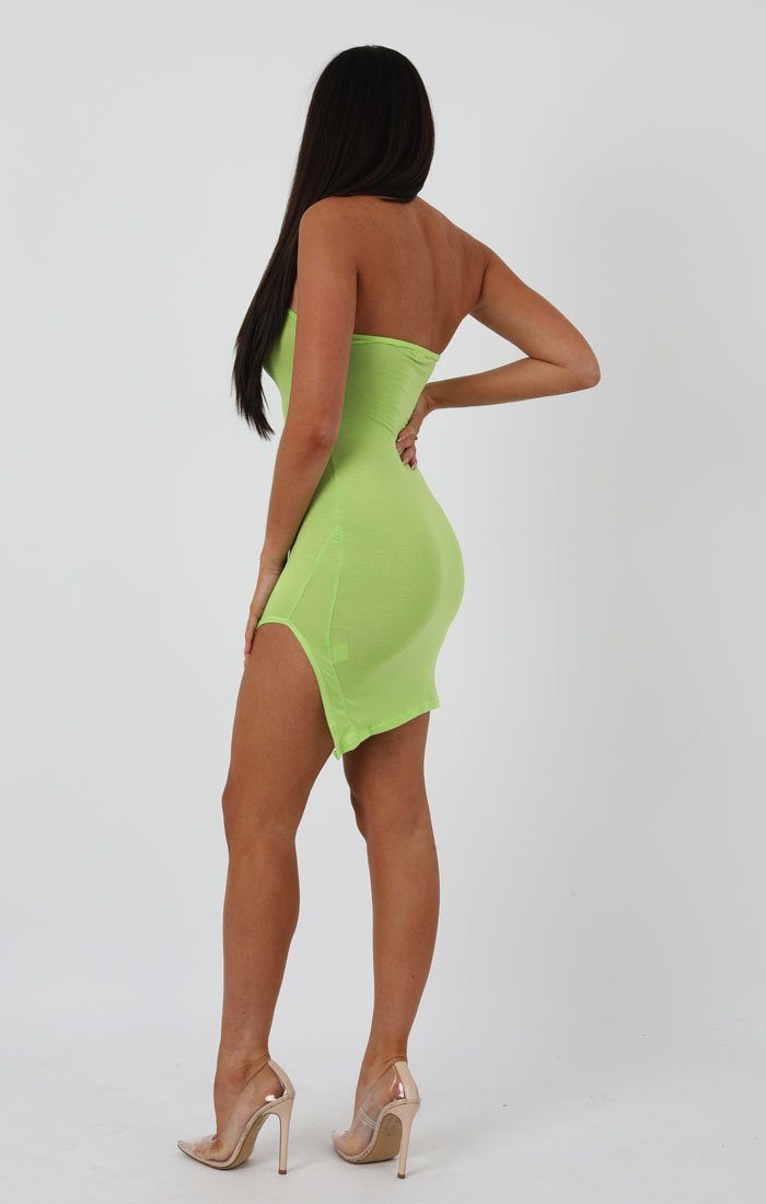 Lime High Neck Split Side Bodycon Dress - Dana