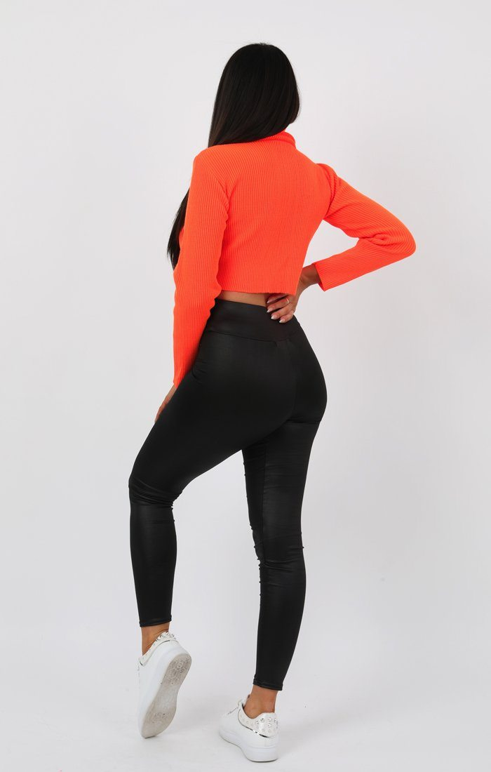 Neon Orange High Neck Ribbed Knit Crop Jumper - Rinah