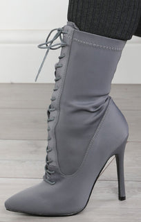 Grey Lycra Heeled Lace Up Boots