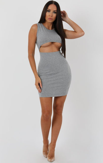 Grey Underboob Cut Out Bodycon Dress - Briana