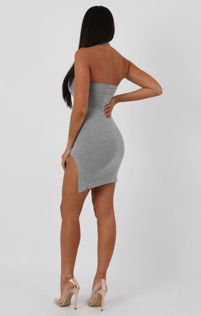 Grey High Neck Split Side Bodycon Dress - Dana