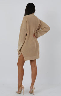 Stone Knit High Neck Oversized Jumper Dress - Eliana dresses FemmeLuxe