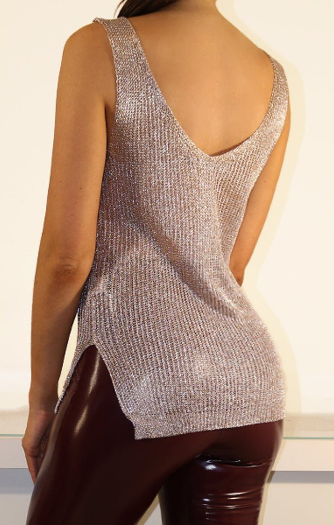 Rose Metallic Knit Top