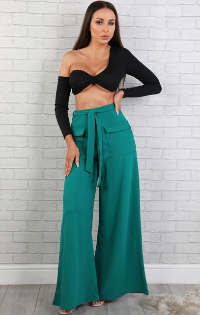 Emerald Green Extreme Wide Leg Trousers - Betsy