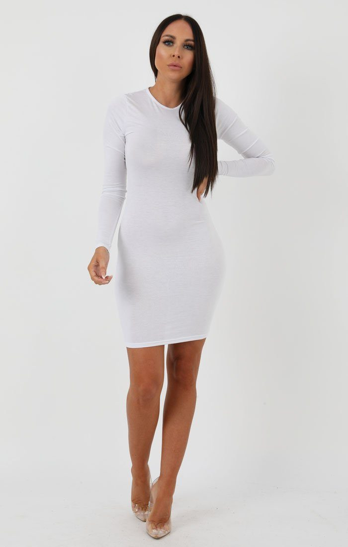 White Long Sleeve Bodycon Dress - Michelle