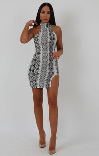 Animal Snake Print High Neck Split Side Bodycon Dress