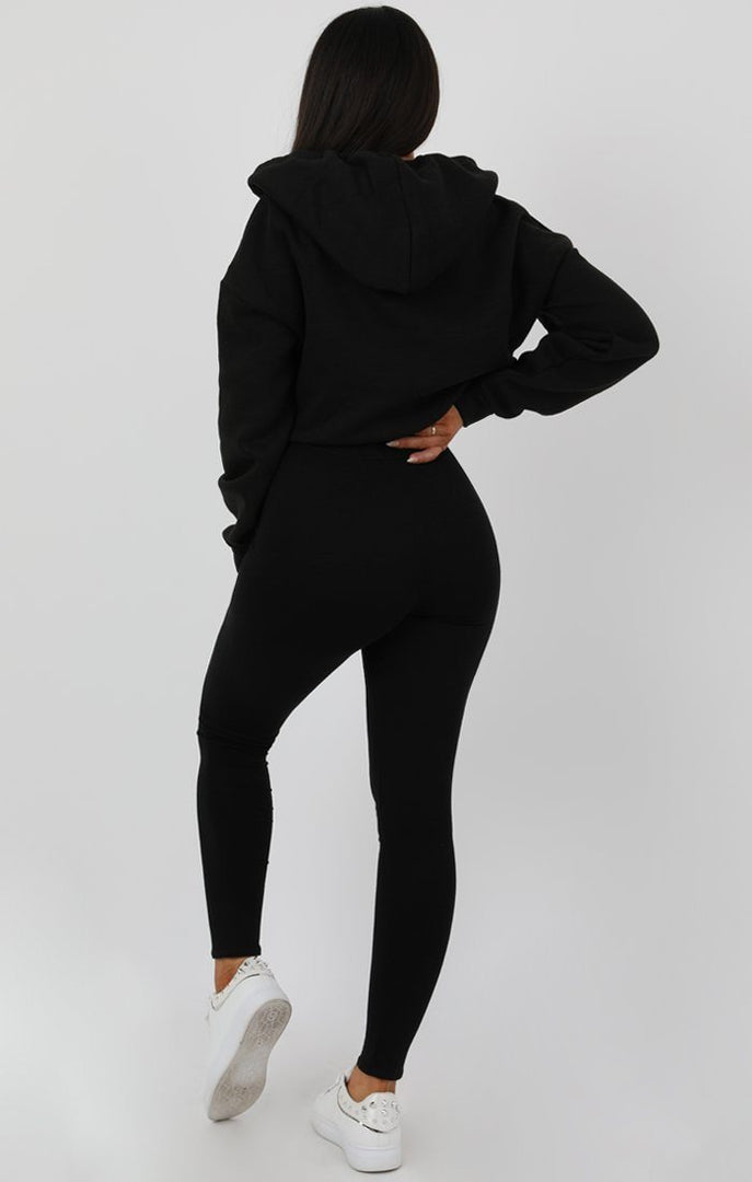 Black V-Neck Crop Jumper - Cassidy