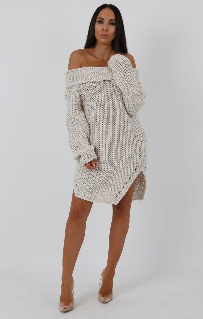 Stone Chunky Knit Side Split Bardot Midi Dress - Gina