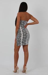 Animal Snake Print High Neck Split Side Bodycon Dress - Dana