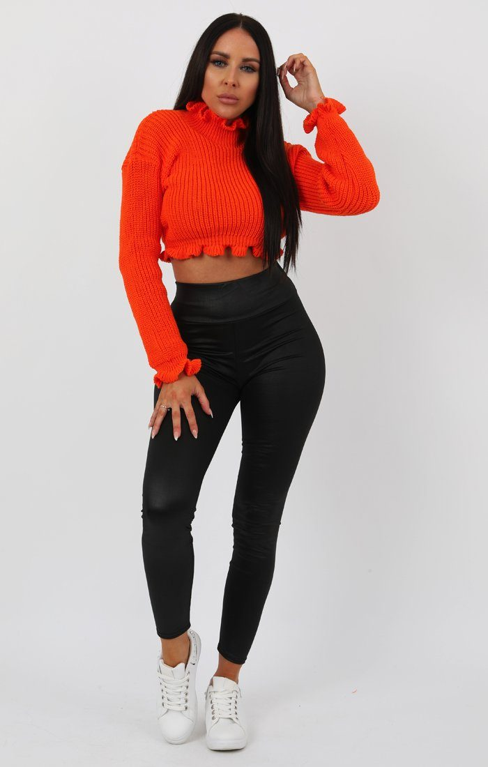 Neon Orange Ruffle Hem Chunky Knit Crop Jumper Jumpers FemmeLuxe SM (8/10)