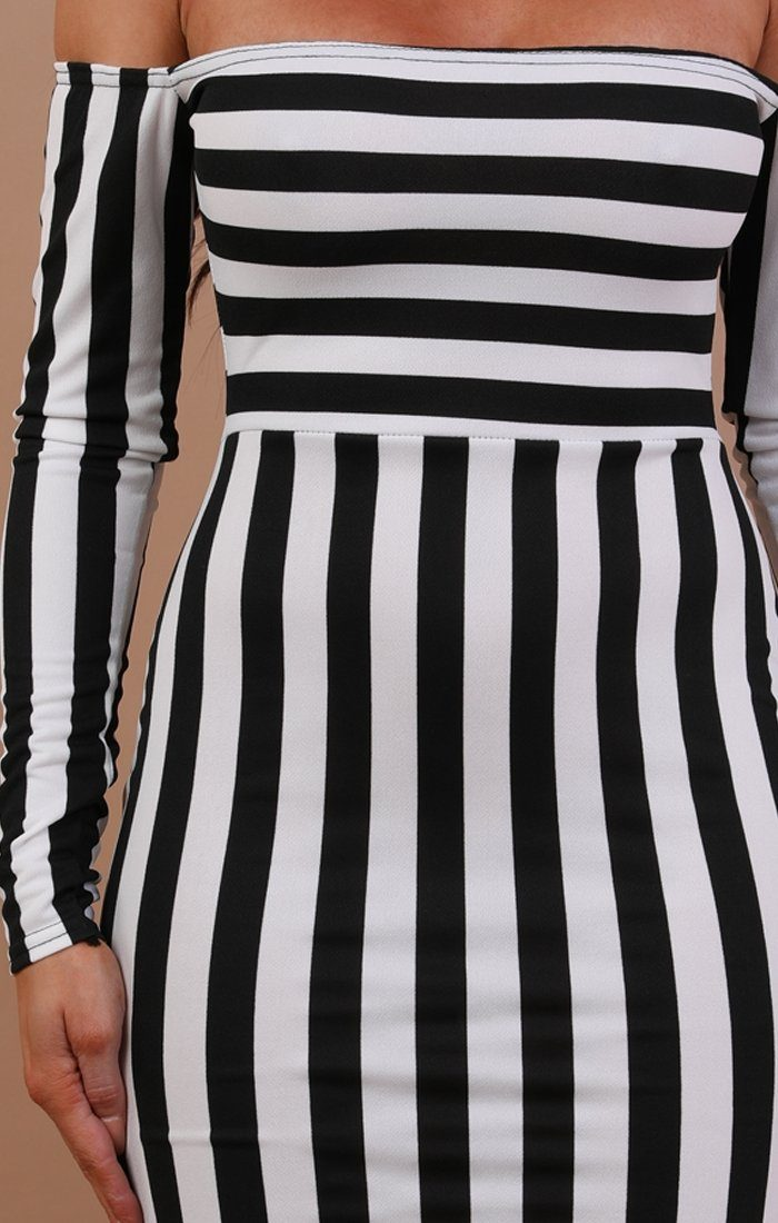 White Stripe Bardot Bodycon Dress - Hanna