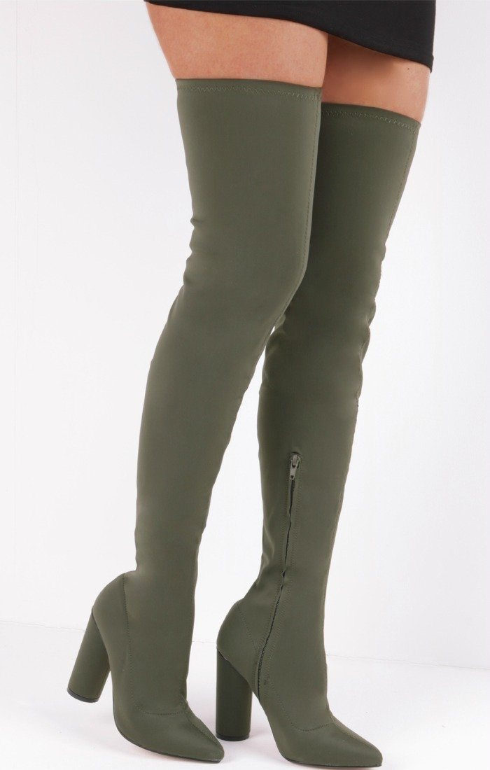 Khaki Lycra Over The Knee Sock Boots