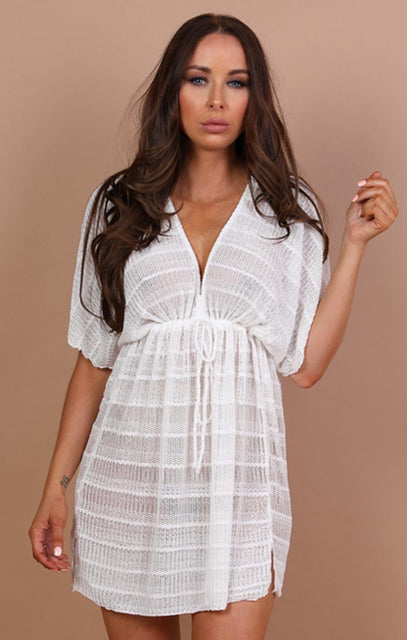 White Crochet Drawstring Kaftan - Charis