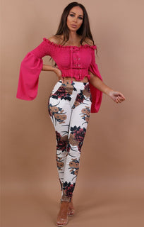 White Floral Slim Fit Trousers