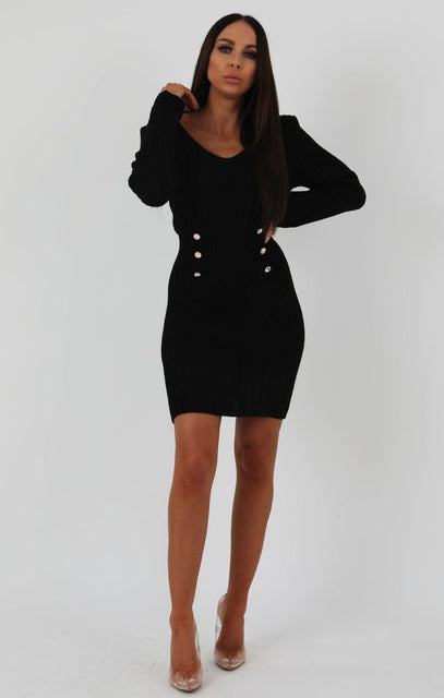Black Ribbed Knit Bodycon Dress With Button Detail - Lauryn