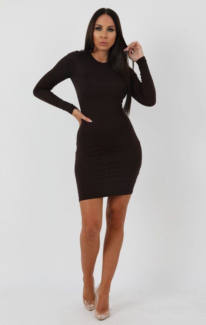 Brown Long Sleeve Bodycon Dress - Michelle
