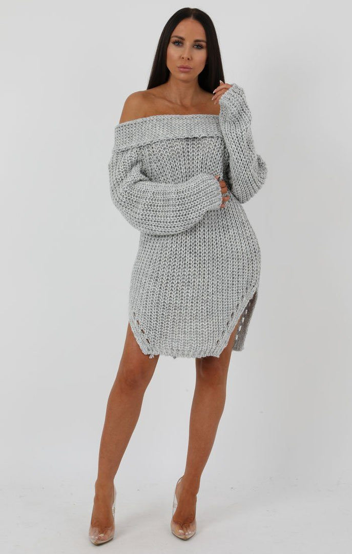 Grey Chunky Knit Side Split Bardot Midi Dress - Gina