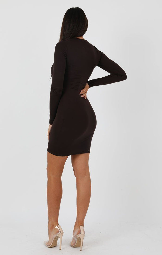 Brown-Long-Sleeve-Bodycon-Dress-Michelle