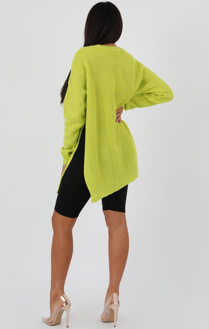 Lime Oversized Split Side Knitted Jumper - Lore