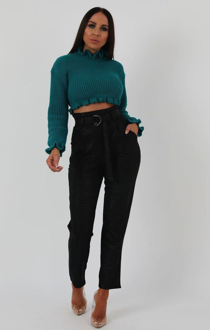 Jade-Green-Ruffle-Hem-Chunky-Knit-Crop-Jumper