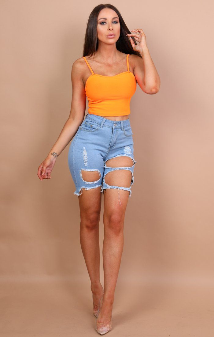 Neon Orange Cami Crop Top - Heidi