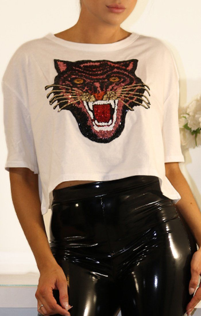 White Cropped Tee With Applique Sequin Tiger