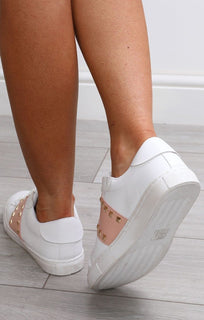 White And Nude Studded Trainers - Avery
