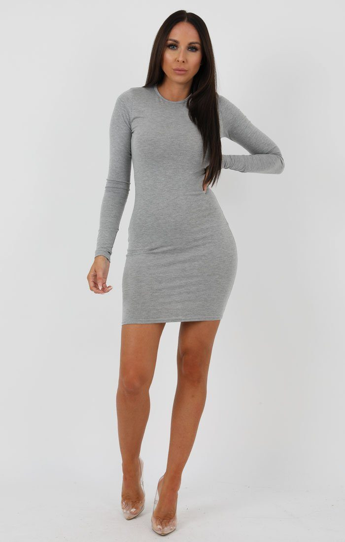 Grey Long Sleeve Bodycon Dress - Michelle
