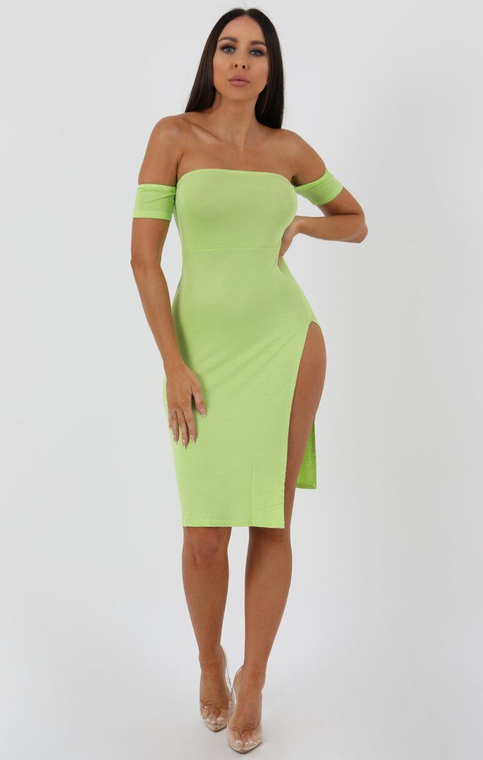 Lime Cuff Detail Split Side Midi Dress - Jennifer