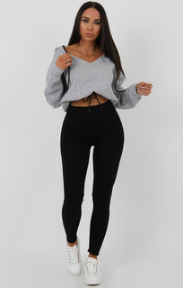Grey V-Neck Crop Jumper - Cassidy