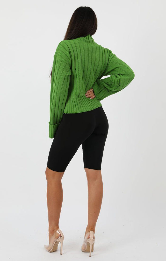 Green Ribbed Knit Oversized High Neck Jumper - Elisha