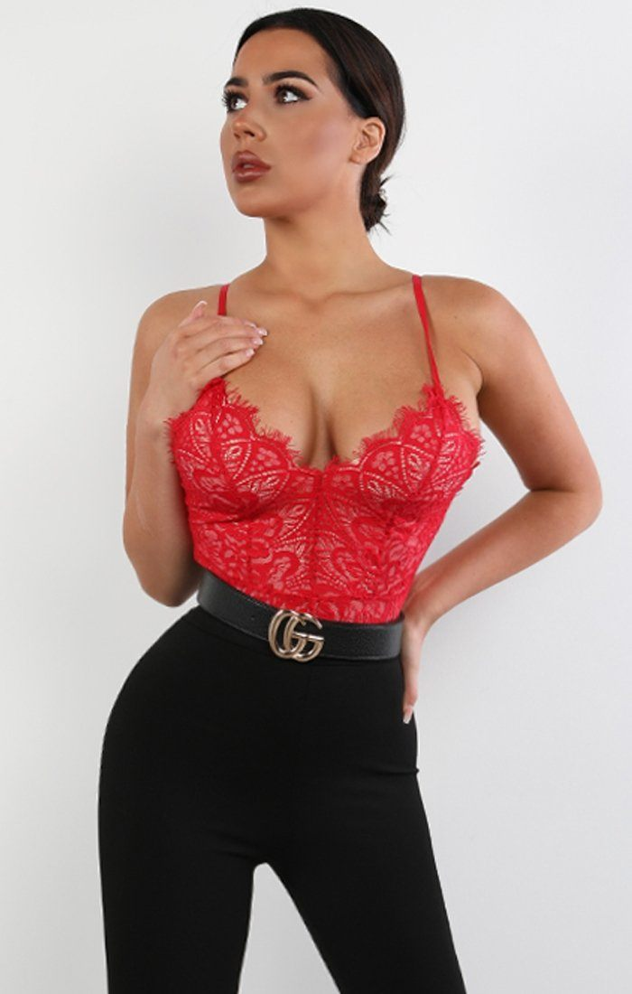 Red Lace Overlay Bodysuit - Elena bodysuits Femme Luxe 8