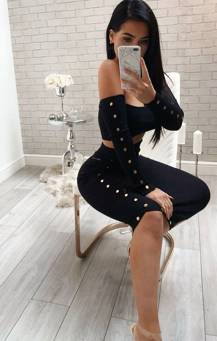 Black Ribbed Button Detail Two Piece Co-ord Set