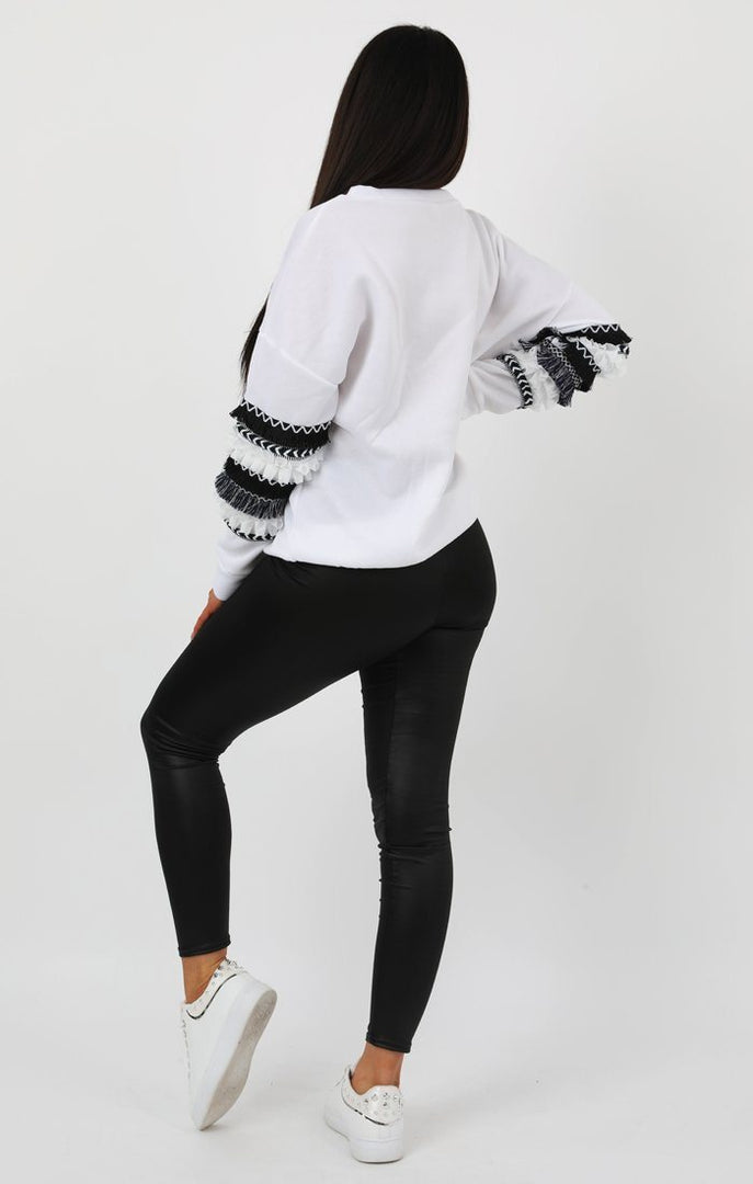White Embellished Sleeve Detail Jumper - Emmeline