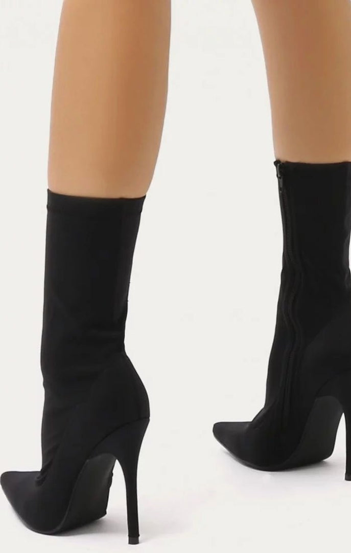 Black Pointy Stiletto Sock Boot - Lexi
